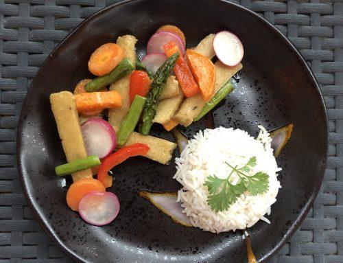 Seitan z zelenjavo in rižem